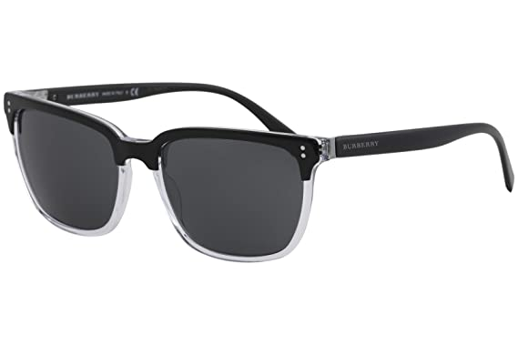 59e42db8f345 Burberry Square Be4255F 30295V Mens Black Frame Grey Lens Sunglasses ...