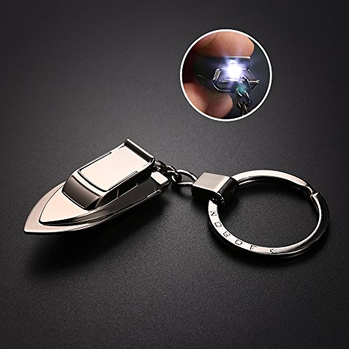 Most Models Ship - Ship Model Keychain Flashlight, Jobon Zinc Alloy Boat Key Chain with LED Light, Keyrings for Key Holding, Perfect Gift Idea