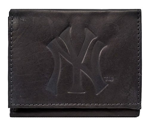 Embossed Mlb Tri Fold Wallet - Rico New York NY Yankees MLB Embossed Logo Black Leather Trifold Wallet