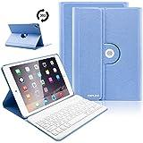 iPad Keyboard Case 9.7 for New 2018 iPad 6th Gen/iPad Pro 2017/iPad Air 2/iPad Air, 360 Rotatable/Wireless Bluetooth/Tablet Slim Cover/Smart Auto Sleep-Wake (Sky Blue)