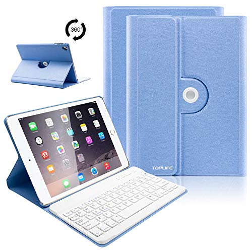 iPad Keyboard Case 9.7 for New 2018 iPad 6th Gen/iPad Pro 2017/iPad Air 2/iPad Air, 360 Rotatable/Wireless Bluetooth/Tablet Slim Cover/Smart Auto Sleep-Wake (Sky Blue)
