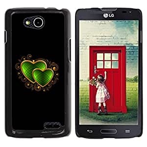 Qstar Arte & diseño plástico duro Fundas Cover Cubre Hard Case Cover para LG OPTIMUS L90 / D415 ( Heart Jewel Black Golden Love Emerald)
