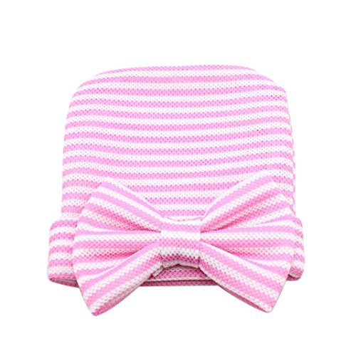 Amiley Newborn Baby Girl Infant Hospital Hat Beanie with Stripe Bow (Pink)