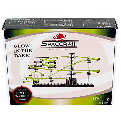 SpaceRail Glow in The Dark 6,500mm Rail, Roller Coaster Building Set, Marble Roller Coaster Kit with Steel Balls, Great Educational Toy for Boys and Girls, Level 1.2 (Coaster Roller Ball Steel)