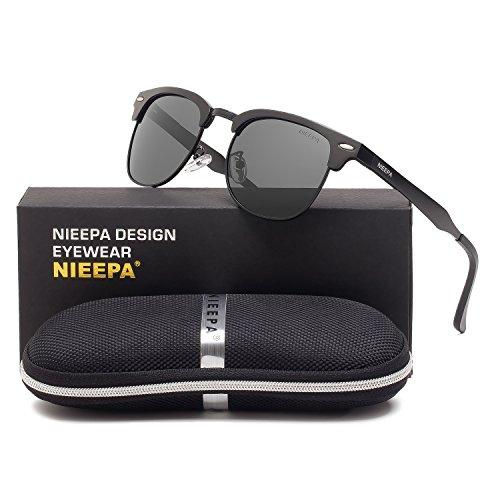 Semi Rimless Polarized Sunglasses Classic Aluminum Magnesium Frame Wayfarer Sun Glasses Men Women Vintage Brand Designer Half Frame Rivet Driving Glasses (Grey Lens/Black AL-MG - Eyewear Brand