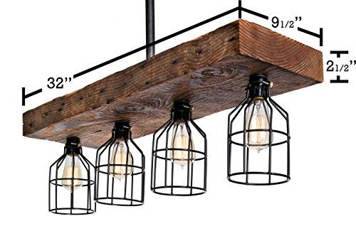LIMITED SUPPLY - Farmhouse Style Reclaimed Wood Beam Rustic Decor Chandelier Light - Early 1900's Wood Hand Crafted in the USA (Reclaimed Wood) by Barrister & Joiner Lighting (Image #3)