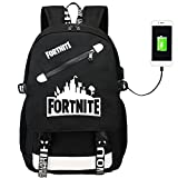 Fortnite Backpack with USB Charging Port, Laptop Backpack School Bags for Boys Girls, Lightweight Multi-functional Water-resistant Casual Trekking Rucksack Sports Daypack
