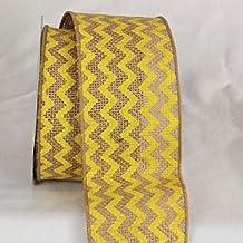 "Set of 4 Tan and Yellow Burlap Chevron Print Wired Craft Ribbon 3"" x 40 Yards"