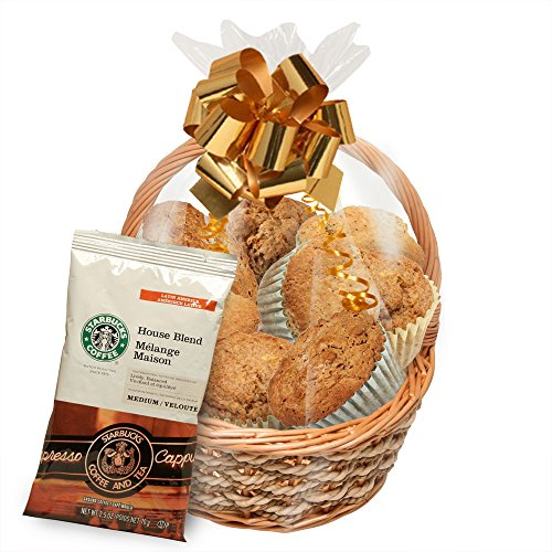 Simply Scrumptous Fat Free Muffin and Cookie Gift Basket with Coffee