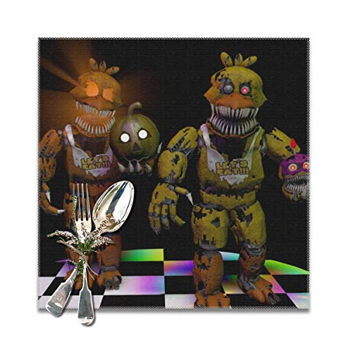 Rmoye Nightmare Chica Five-Nights-at-Freddy Heat Resistant Placemats Set Of 6 For Dining Table Washable Kitchen Table Mats 12x12 -