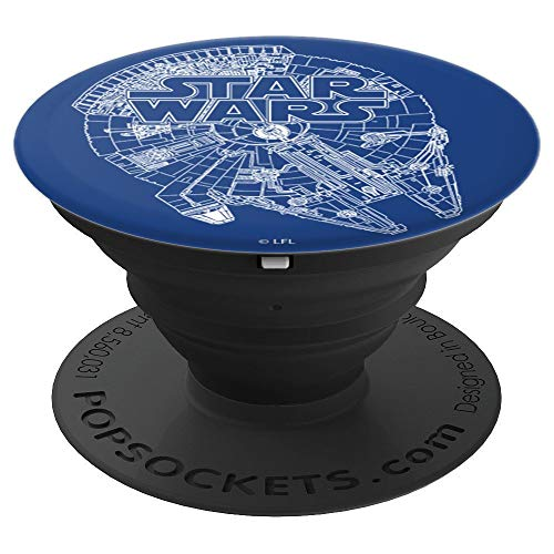 Millennium Phone - Star Wars Blue And White Millennium Falcon Title - PopSockets Grip and Stand for Phones and Tablets