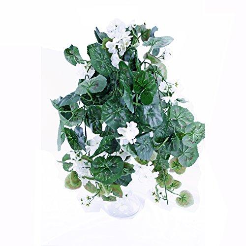 FloristryWarehouse Artificial Silk Trailing Geranium White 24 inches Hanging Basket Window Box Flowers