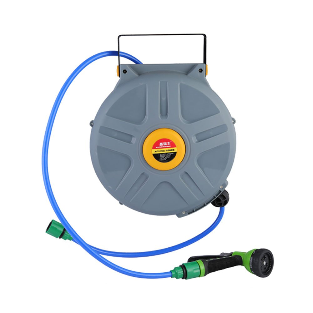 50 Feet Retractable Water Hose Reel with Hose, GOGOLO 220PSI 7 Pattern Nozzle Expandable Water Sprayer Reel Hybrid Polymer Plastic for Washing Cars, House, Garden, etc