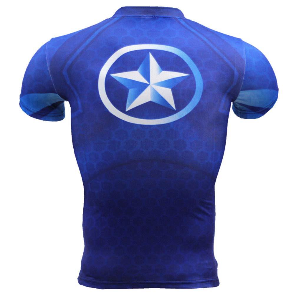 Short Sleeve Dri-fit Captain America Compression Athletic Shirt Blue