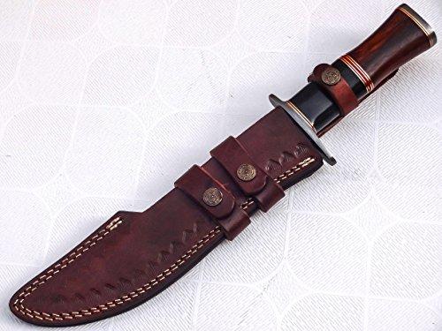 Poshland Knives REG 1314 Handmade Damascus Steel 15.25 Inches Bowie Knife - Marandi Wood/Bone Handle