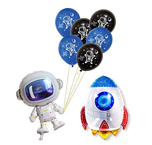 Astra Gourmet Solar System Rocket to Space Astronaut Party Supplies - 24 Latex Balloons & 1 Foil Astronaut and 1 Balloon Rocket Balloon - Outer Space Theme Planet Themed Birthday Party Decor -