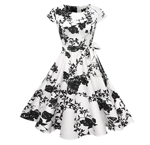 OneMee Women's Elegant Retro Dress With Sleeveless Holiday Casual Dress by OneMee