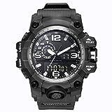 Bounabay Dual Dial Analog Digital Quartz Sport Watch Multifunction Shock Resistant Sport Watches for Men, Black