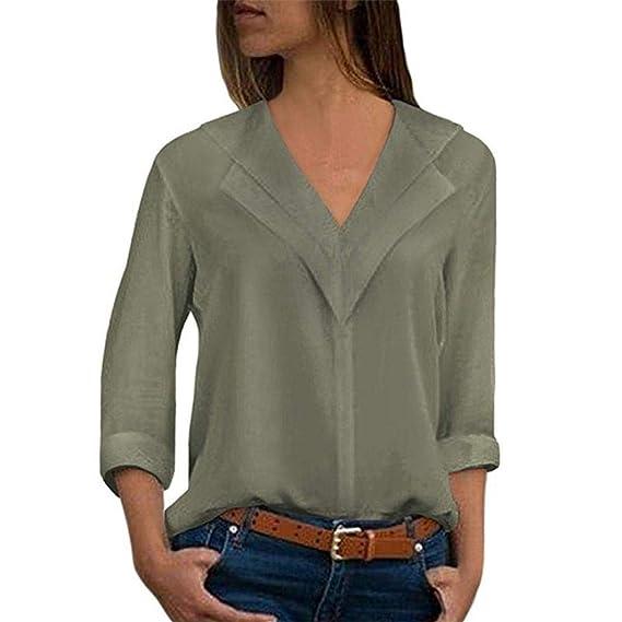 Damen Streifen Langarm Bluse V-Ausschnitt Shirt Asymmetrisch Lang T-Shirt Tops P