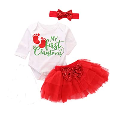 96afa2324 Christmas 3Pcs Outfit Set Baby Girl My First Christmas Romper Bow Skirt Tutu  Dress Headband (