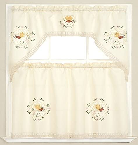 Printed Embroidered Chicken Duck /& Butterfly Kitchen Curtains with Tie Backs
