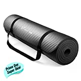RitFit 1/2-Inch Extra Thick High Density NBR Exercise Yoga Mat for Pilates, Fitness & Workout w/Carrying Strap (Black) Review