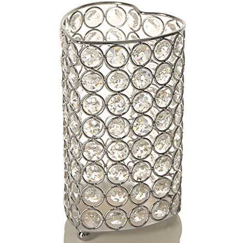 VINCIGANT Heart Crystal Vases Silver Tealight Candle Holders for Valentines Day Birthday Party Decoration 7.2 Inches Tall