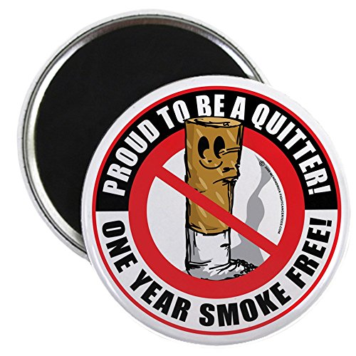 CafePress - Proud-To-Be-A-Quitter-1-Year - 2.25' Round Magnet, Refrigerator Magnet, Button Magnet Style