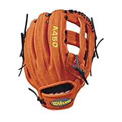"""Wilson new A450 12"""" glove is inspired by the new Wilson 1799 outfield glove, and comes in orange and black leather with a dual post web. Wilson A450 Series is lightweight, flexible and durable for young ball players everywhere. All the gloves..."""