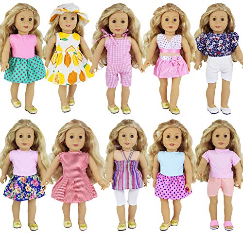 ZITA ELEMENT 10 Sets Clothes for American 18 Inch Girl Doll - Handmade Fashion Oufits, Daily Party Dress Fits 16 Inch - 18 Inch Girl Dolls Accessories (Customized American Girl Doll)