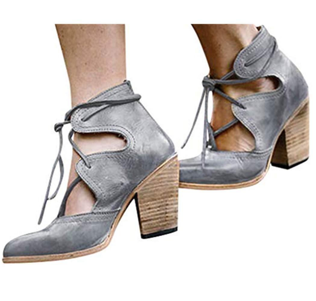 Cewtolkar Womens Roman Sandals Pumps Thick Heel Sandals Summer Breathable Lace-Up Non-Slip Shoes Sandals Brown
