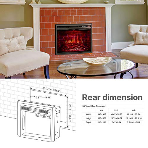 """R.W.FLAME 36"""" Fireplace in Recessed Heater, Glass Door and Mesh Screen,Remote with Colorful Flame Option"""