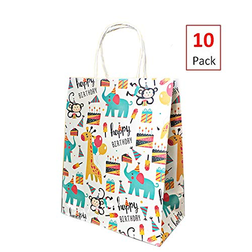 10 Pack Zoo Animal Party Favors Bags Jungle Party Supplies Gift Bags Woodland Birthday Party Goodie Bags Baby Shower Treat Bags Elephant Giraffe Monkey Happy Birthday Party Bags, 8.3x10.6 -