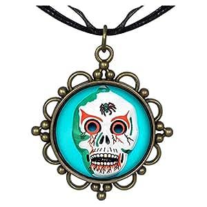 b8ee98047e47 Bronce GiftJewelryShop Estilo Retro Halloween máscara de calavera flor  redonda colgante del encanto del collar  Amazon.es  Hogar