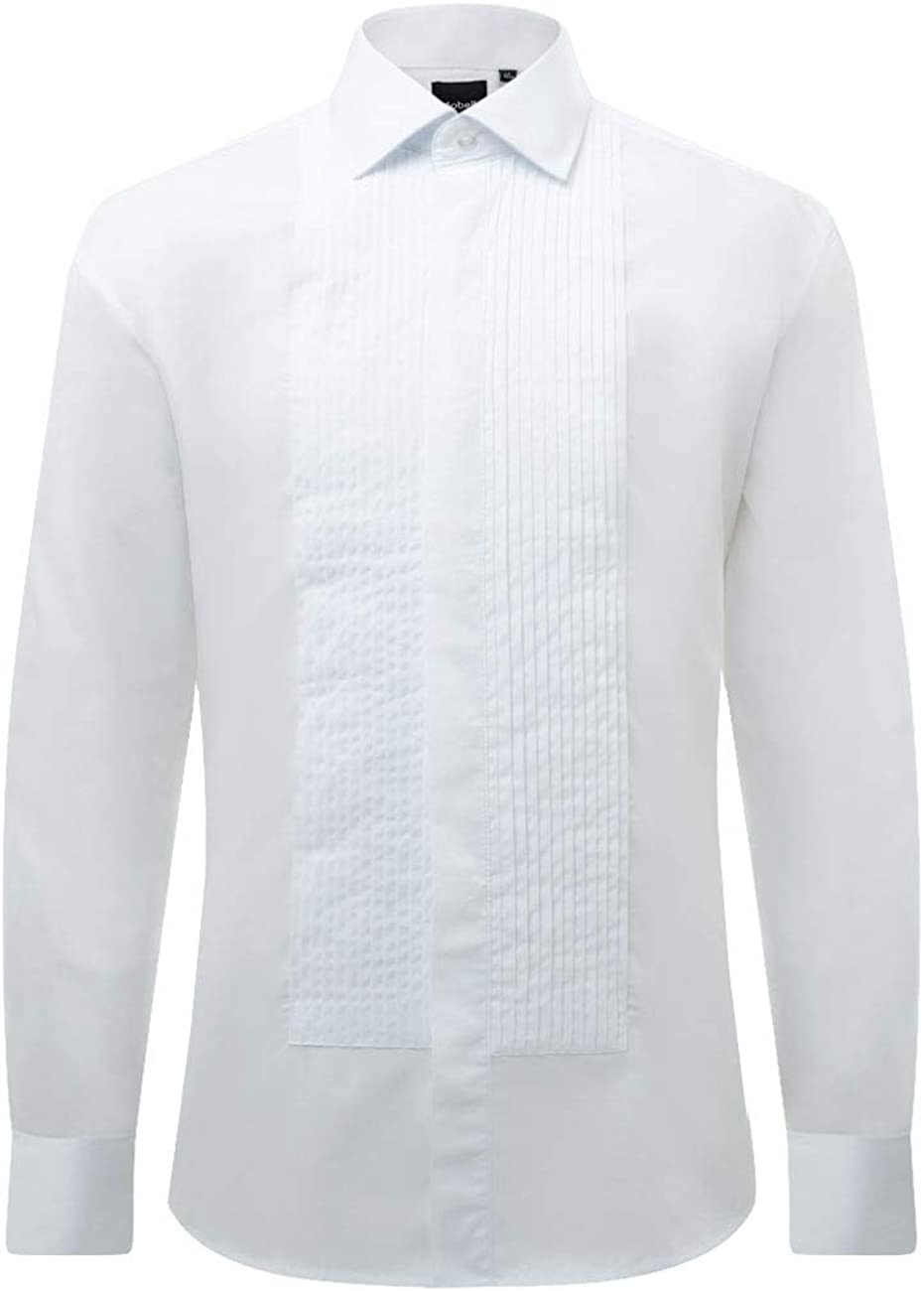 Dobell Camisa de Vestir Ajustada, 100% algodón, Cuello estándar, Delantera Plisada: Amazon.es: Ropa y accesorios