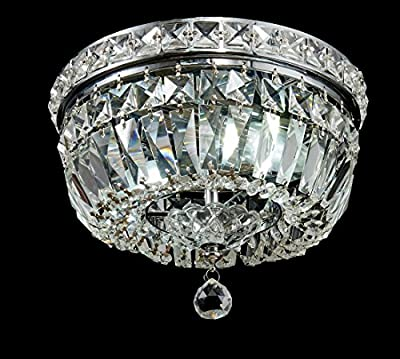 Top Lighting Chrome Finish Crystal Flushmount Chandelier