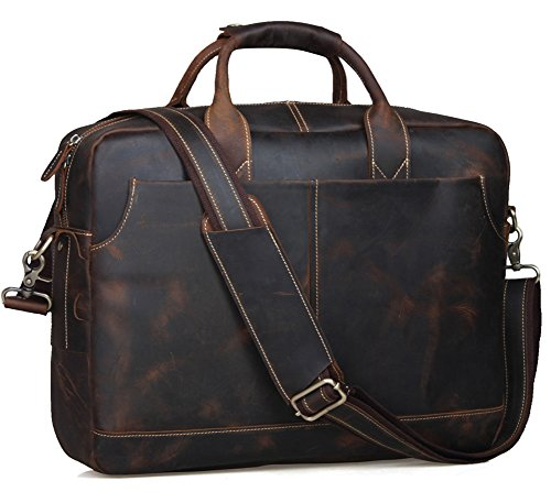 Texbo Genuine Leather Men's Briefcase Messenger Tote Bag Fit 17-18 Laptop (Dark Brown X-Large 18 inch) 18in Brown Leather