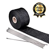 "Koval Inc. FIBER GLASS 2"" x 16.4' Motorcycle Engine Exhaust Pipe Heat Wrap (2""x16.4ft, Black Fiber Glass, 1)"