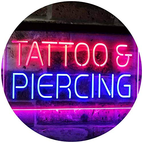 (ADVPRO Tattoo Piercing Get Inked Shop Open Dual Color LED Neon Sign Blue & Red 16