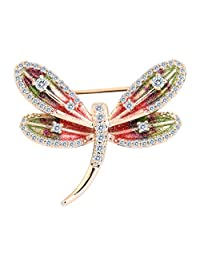 EVER FAITH Women's Zircon Enamel Cute Little Dragonfly Insect Brooch Pin Multicolor