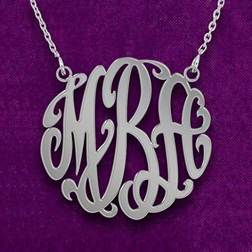 Sterling Silver Monogram Necklace Personalized Initial Name Necklace - Custom Made with Any Initial!