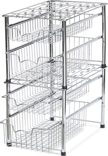 Simple Houseware Stackable 2 Tier Sliding Basket Organizer Drawer, Chrome by Simple Houseware (Image #3)'