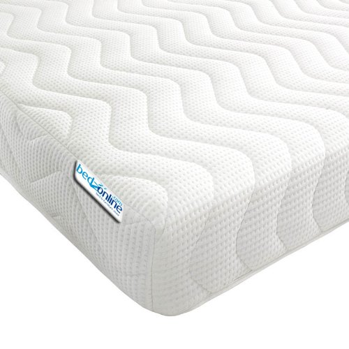 bedzonline Micro Quilted Cool Flex Cover Memory Foam and Reflex 3-Zone Mattress with 1 Fibre Pillows, White, Single, 3 ft, 90 x 15 x 190 cm
