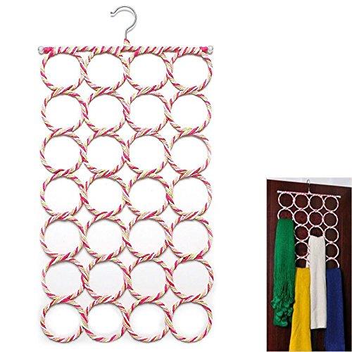 GreenSun(TM) Fashion Multifunction 28 Hole Ring Rope Scarf Wraps Shawl Storage Holder Hook Hanger Clothes Tie Circle Organizer Decor Room by GreenSun