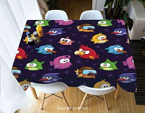 Printed Table Cloth, Rectangle Table Cover in Washable Polyester for Parties, Holiday Dinner, Wedding & More,Funny,Angry Flying Birds Figure with Various,60