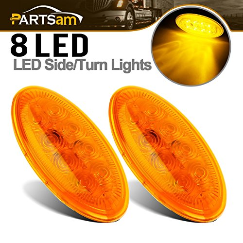 2x Led Lighting Oval Amber Side Turn/Side Marker Lights for Peterbilt Replacement 8LED Stud Mount, Sealed Side Turn/Clearance Marker Lights - Peterbilt Replacement Lights (Replacement Peterbilt)