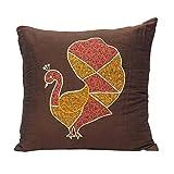 Home Décor Throw Pillow Sofa Indian Cushion Cover Chanderi Silk Brocade Case 16 X 16 Inches