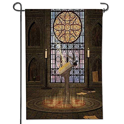 Classic Flag,Decor Lectern on Pentagram Symbol Medieval Architecture Candlelight in Dark Spell Altar Grey Garden Flag   ()