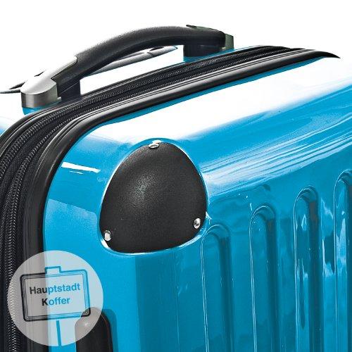 HAUPTSTADTKOFFER® 130 Liter Hartschalen Koffer · Koffer 130 Liter (75x52x32 cm) · Hochglanz · TSA oder Zahlenschloss + DESIGN KOFFERANHÄNGER (Zahlenschloss, Cyan Blau)
