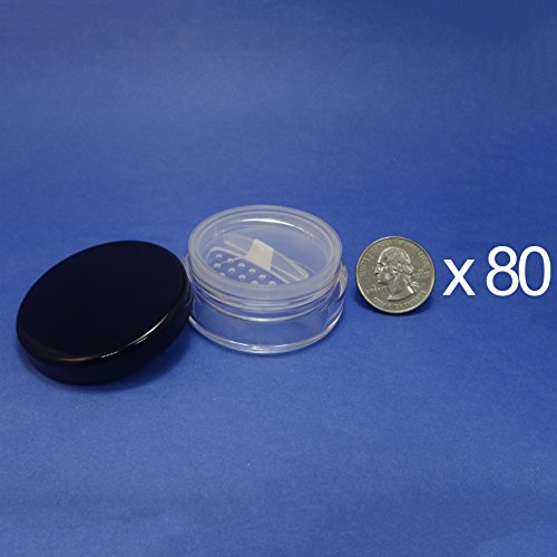 80 Pcs Made in Taiwan 20 g Pot Travel Size Sifter Loose Powder Plastic Jar with Rotating Sifter & Black Lid by TOPFASHION89